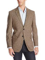 Two Button Single Breasted Portly Wool Blend Brown Sport Coat