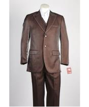 2 Button Vested Shiny Brown Fashion Peak Lapel Suit with Studded