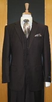Button Brown Flat Front three piece suit