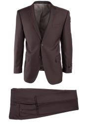 Brown Side Vent Novello Wool Two Button Modern Fit Luxe Fine