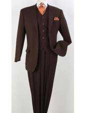Apollo King Suit Brown Mens Two Button Notch Collar  Executive Classic