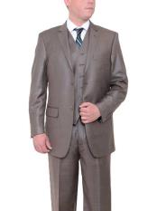 Taupe Brown 2 Button Textured Classic Fit Side Vents Vested Suit