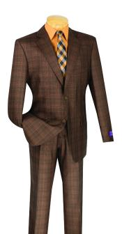 Plaid Window Pane Glen Plaid Vested 3 Piece Chestut Brown Suit