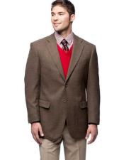 Mens 2 Button Wool Notch Lapel Brown Single Breasted Blazer