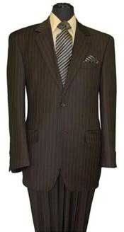 Mens Two Button Style Brown Pinstripe Super 140s Wool Feel Poly~Rayon Business ~ Wedding 2 piece Side