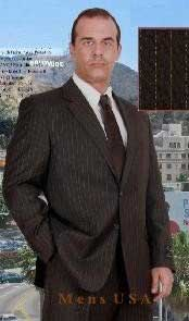 Mens Brown Pinstripe Super 140s Wool Business ~ Wedding 2 piece Side Vented Suit Available in 2