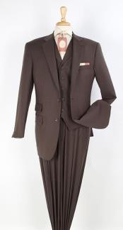 Brown 2 button Ticket Pocket Lapeled Vested Notch Lapel 100% Wool
