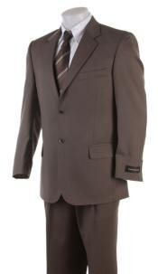2 Button English Brown Super Wool Business Business ~ Wedding 2 piece Side Vented 2 Piece Suits