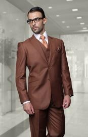 Big Size Vested Suits 2 Button Wool Suits Brown