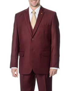 Two Button Peak Lapel Lapled Vested Three Piece Pleated Pants Burgundy