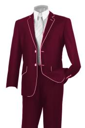 SKU#AC-358 Mens Two Button Two Toned Suit White Lapeled Tuxedo Burgundy $595