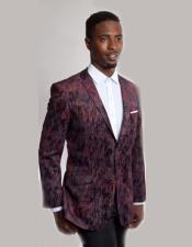 Mens Single Breasted Burgundy ~ Wine ~ Maroon Color 2 Button Pattern Velvet Blazer Slim Fit Blazer