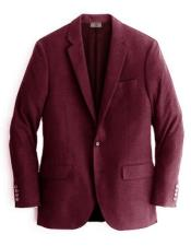 Burgundy Notch Lapel Two Buttons Cashmere & Wool Blazer