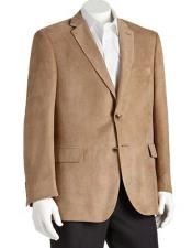 Mens Polyester Notch Lapel 2 Button Double Vent Classic Fit Camel Blazer