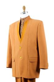 Mens Button Fastener Rhinestone Accents Cross Stripe Camel Mandarin Banded No Collar