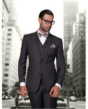 Confidence Mens Heather Charcoal 2 Button Modern Fit Wool Fine Brands