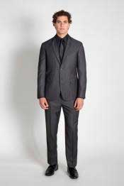 2 Button Charcoal Groomsmen ~ Groom Wedding Pinstripe Slim Fitted Cheap
