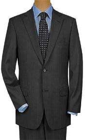 Two Button Charcoal Gray Multi Mini Pinstripe Cheap Business Suits Clearance Sale