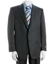 Two Button Charcoal Gray Multi Stripe ~ Pinstripe Cheap Business Suits Clearance Sale