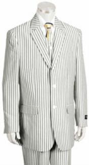 Button Jacket Pleated Pants Pronounce Pinstripe Seersucker Sear sucker suit for