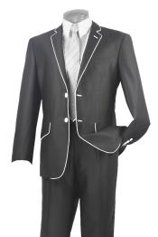 Mens Two Button Two Toned Suit White Lapeled Tuxedo Charcoal Grey ~ Gray 7 days delivery