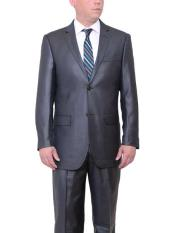 Big & Tall 2 Button Classic Fit Side Vents Sharkskin Charcoal