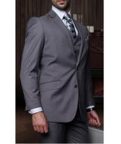Confidence Mens Charcoal Grey 3 Piece 2 Button Italian Designer Suit