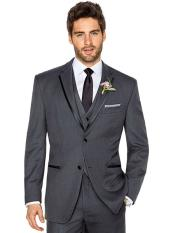 2 Buttons Charcoal Grey ~ Gray Tuxedo 2 Button Style With Trim Vested