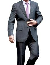 2 Button Single Breasted Charcoal Pinstripe Notch Lapel Suit