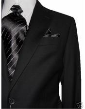 2 Button Single Breasted 100% Wool Notch Lapel Charcoal Dual Side
