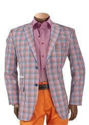 Mens 2 Button Notch Lapel Check Plaid Pattern Blazer Multicolor