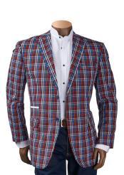 Mens Check Plaid Pattern 2 Button Notch Lapel Multicolor Blazer