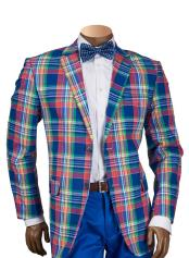 Mens Check Plaid Pattern Multi Single Breasted 2 Button Blazer