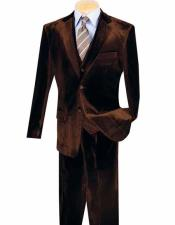 Single Breasted 3 Piece Coffee Notch Lapel Two Button Velvet Vested Suits