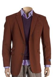 Mens Cognac 2 Button Cotton Notch Lapel With Elbow Patches Blazer