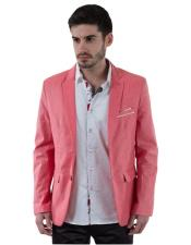Mens 2 Button Salmon ~ Coral color Single Breasted Linen Fabric Long Sleeve Slim Fit Blazer