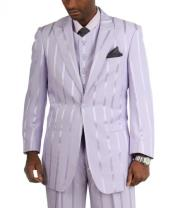 Two Button Cotton Timmed Suit Suit Single Button Three Piece Lilac