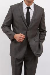 Fitted Solid Herringbone 2 Button Three Piece Vested Shadow Stripe Mens