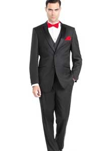 Giorgio Fiorelli Mens Two Button Three Piece Walton Tuxedo with Vest Black