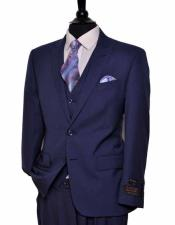 Mens European Fit 2 Button Single Breasted Dark Blue Peak Lapel Vested Suit