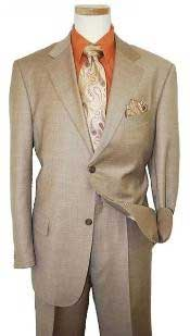 Two Button Dark Tan ~ Beige Texture Sharkskin Coffee Cheap Priced
