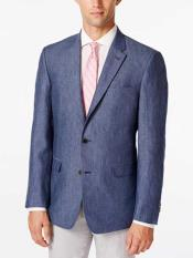 Mens Linen Denim Sport Coat Classic Fit 2 Button Blazer