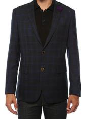 Ferrecci Mens Plaid Slim Fit Purple Blazer Dinner Jacket