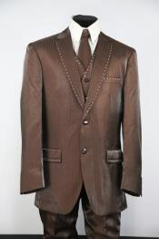 Mens Rhinestone Flap Pocket Sepia Zoot Suit