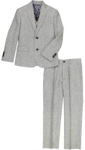 2 Button Notch Lapel 3 Pc Kids Sizes Gray Linen Suit And Pant