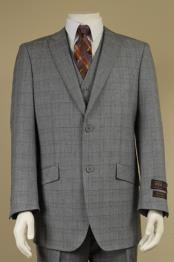 2 Button Window Pane Glen Plaid Patterned Vested 3PC Suit Light Gray