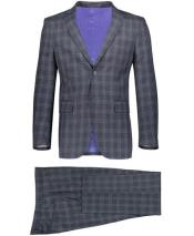 Mens Slim Fit 2 Button Gray Suit Window Pane ~ Plaid Suit