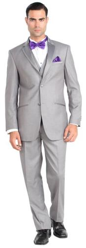 Fiorelli Mens Two Button Three Piece Walton Tuxedo with Vest Grey ~ Gray
