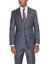 2 Button Solid Heather Gray Wool Single Breasted Notch Lapel Suit