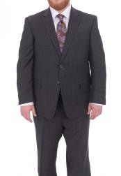 Mens Two Button Fully Lined Portly Fit Gray Plaid With Blue Overcheck Wool Suit